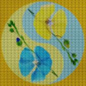 Illustration Cross-stitch Mandala From Dried Pressed Flowers. Flax. Cross-stitch Floral Collage. Man poster