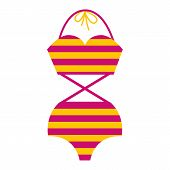 Woman Retro Bathing Suit With Stripes. Girl Summer Swimsuit In Yellow And Purple Color. Women Beach  poster