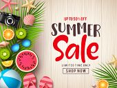 Summer Sale Vector Banner Background Template. Summer Discount Promotion Text In Empty Space With Co poster