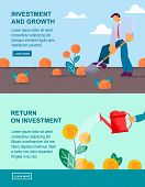 Vector Flat Banner Investment And Growth Return On Investment. Young Businessman With Shovel Ditchin poster