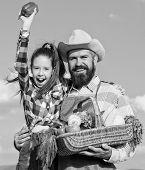Family Farm Concept. Man Bearded Rustic Farmer With Kid. Farmer Family Homegrown Harvest. Only Organ poster