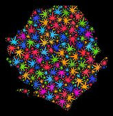 Bright Vector Marijuana Sierra Leone Map Mosaic On A Black Background. Concept With Colorful Weed Le poster