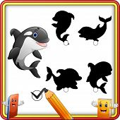 Find The Correct Shadow. Cartoon Funny Killer Whale. Education Game For Children poster