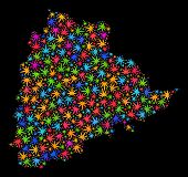 Bright Vector Marijuana Telangana State Map Mosaic On A Black Background. Concept With Colored Weed  poster