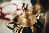 Wedding Crowns. Wedding Crown In Church Ready For Marriage Ceremony. Close Up. Divine Liturgy. poster