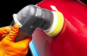 Car Polish Wax Worker Hands Applying Protective Tape Before Polishing. Buffing And Polishing Car. Ca poster