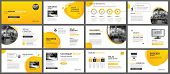 Presentation And Slide Layout Background. Design Yellow And Orange Gradient Geometric Template. Use  poster