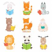 Cute Animals Characters Reading Books Set, Adorable Smart Cat, Panda Bear, Lion, Lamb, Fox, Wolf, Bu poster