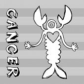 archaistic horoscope, hand drawn sign of the zodiac cancer