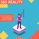 360 Reality Square Banner. Gaming In Virtual World. Man Stand On Platform Play Video Game In Vr Glas poster