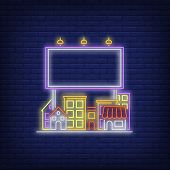 Colorful Town Billboard Neon Sign. Glowing Small Town And Billboard Neon Sign On Brick Wall Backgrou poster