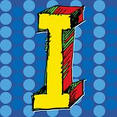 pop-art alphabet, hand drawn letter I