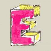 childlike gouache alphabet, hand drawn letter E
