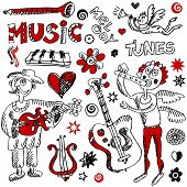 picture of lyre-flower  - naive musical doodles - JPG