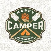 Happy Camper Patch. Happiness Is Toasted Marshmallows. Vector. Vintage Typography Design With Campin poster