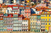 Old Historical Houses Of Porto. Rows Of Colorful Buildings In The Traditional Architectural Style, P poster