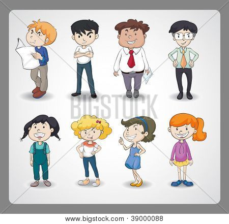 illustration of various persons on a white background