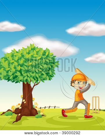 illustration of a boy and a tree in a beautiful nature