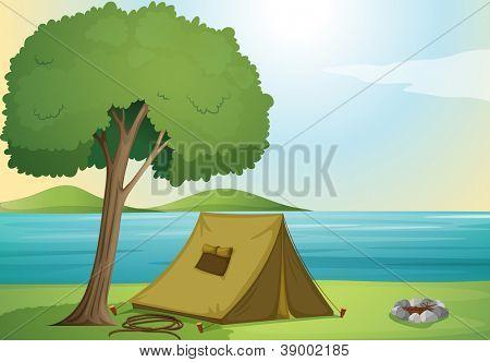 ilustração de uma árvore e uma tenda na bela natureza