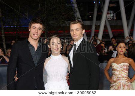 LOS ANGELES - NOV 12:  Max Irons, Saoirse Ronan, Jake Abel arrive to the 'The Twilight Saga: Breaking Dawn - Part 2