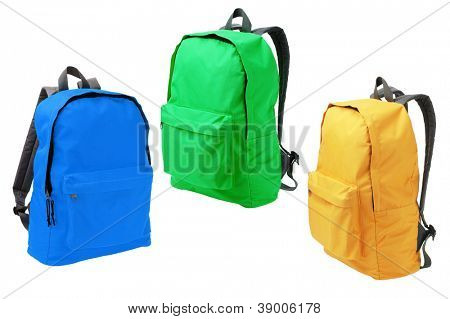 Three Colorful Backpacks Standing on White Background
