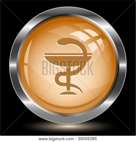 Pharma symbol. Internet button. Raster illustration.