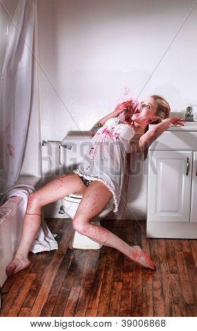 Bloody Crime Scene in a Bathroom