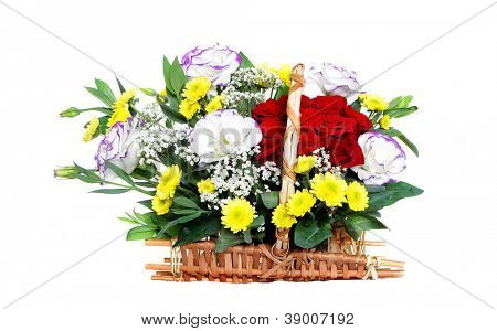beautiful bouquet of flowers isolated over white background