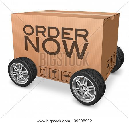 order now on online internet webshop package delivery cardboard box icon with text and wheels