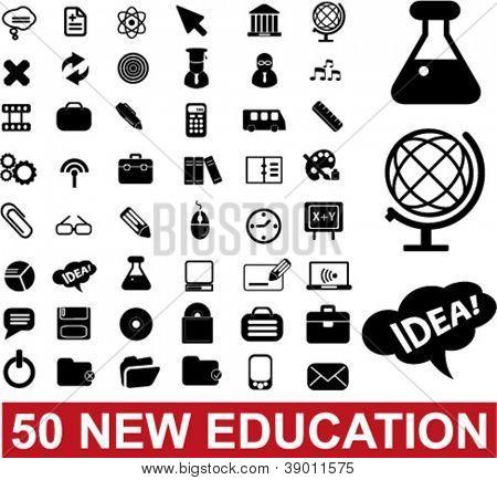 50 education & school icons set, vector