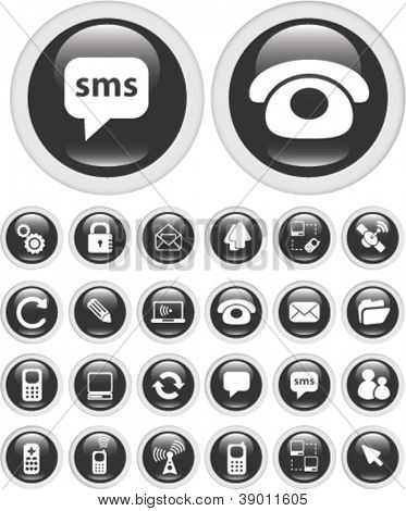 communication icons, buttons set, vector