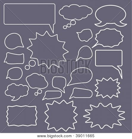 speech bubbles icons set, vector