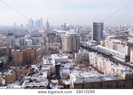 View of Moscow - New Arbat, Kutuzovsky prospect, Sadovoye Ring.