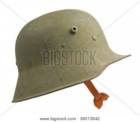 A German World War One (Stahlhelm M1918) military helmet. The Stahlhelm made its first appearance at the Battle of Verdun in February 1916.
