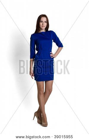 Fashion model wearing blue dress with emotions