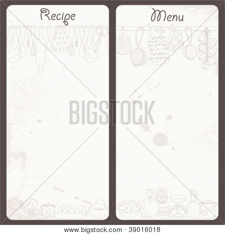 Made old vector background for recipes and menu in your kitchen