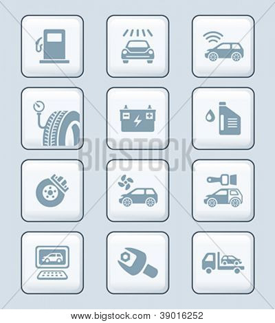 Car care, tuning, repair, and more service icons in gray