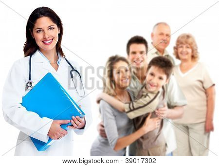 Smiling medical family doctor woman. Health care background.