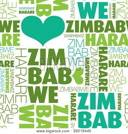 I love Zimbabwe Harare seamless typography background pattern in vector