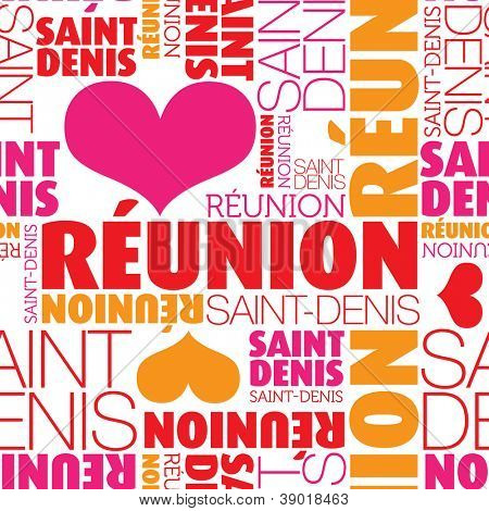 ... Reunion Saint-Denis seamless typography background pattern in vector