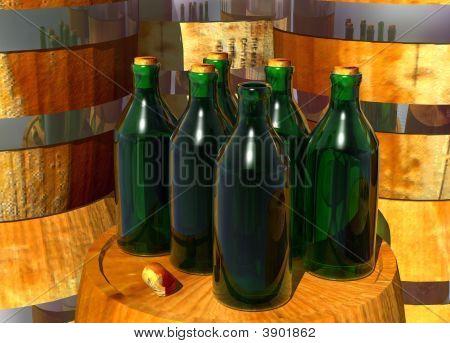 Bottles Of Wine On Barrels