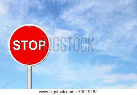 Stop Sign With Blue Sky