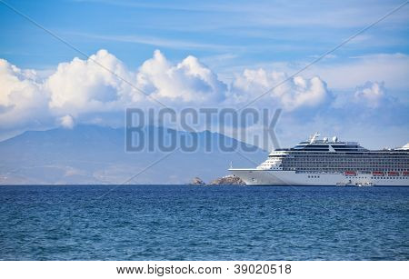 Cruise liner near greek island - Mykonos