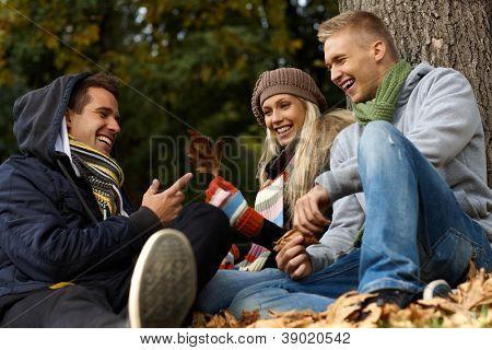 Feliz compañía joven sentado, hablando en el Parque otoño.