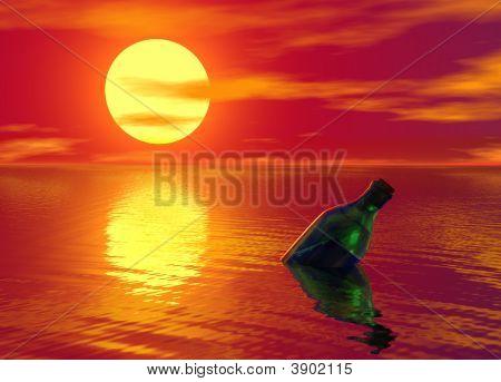 Message In A Bottle Floating On Ocean