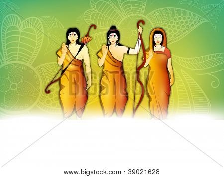 Illustration of Hindu Lord Rama, Goddess SIta and Laxman for Diwali festival celebration in India. EPS 10.