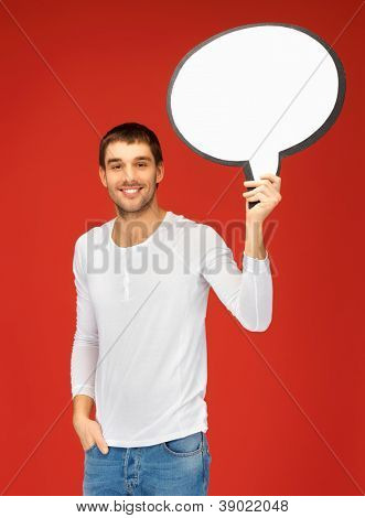 bright picture of smiling man with blank text bubble.