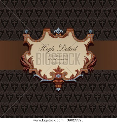 Gift Card Design in Vintage style. Floral pattern.  Retro background. Wallpaper. Chocolate package. Copyspace. Vector.
