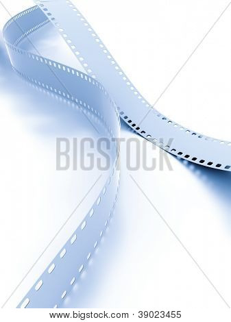 Metal model of a film on a white background