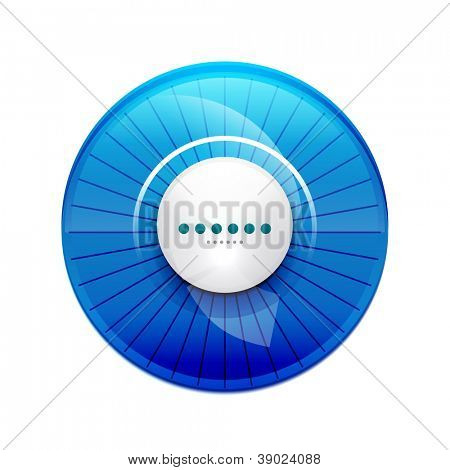 Blue glossy UI control panel. Vector illustration